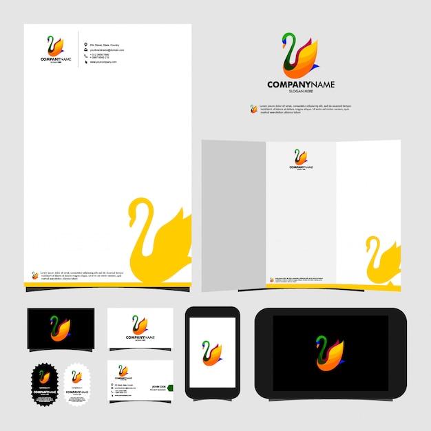 Artigos de papelaria do molde do logotipo da cisne Vetor Premium