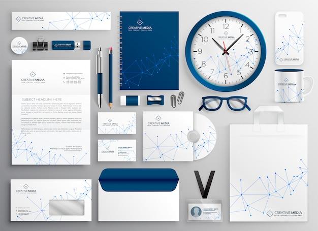 Artigos de papelaria do negócio ajustados no diagrama de wireframe Vetor grátis