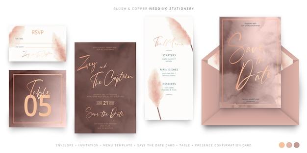 Artigos de papelaria elegantes do casamento em blush e cobre Vetor grátis