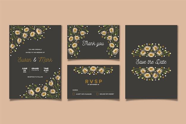 Artigos de papelaria floral do casamento Vetor grátis