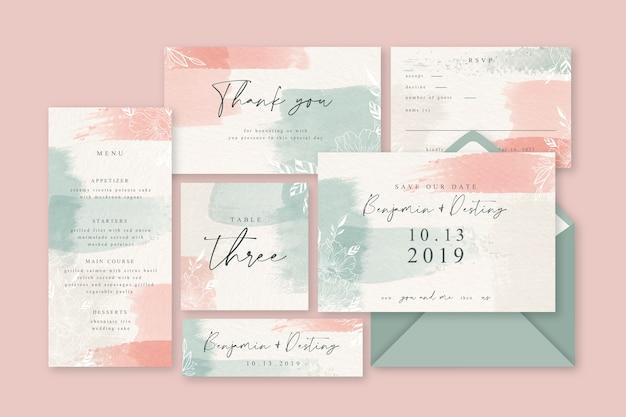 Artigos de papelaria pastel cor-de-rosa do pó do casamento Vetor grátis