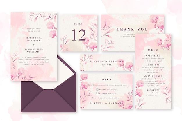 Artigos de papelaria pastel do casamento do pó cor-de-rosa Vetor grátis