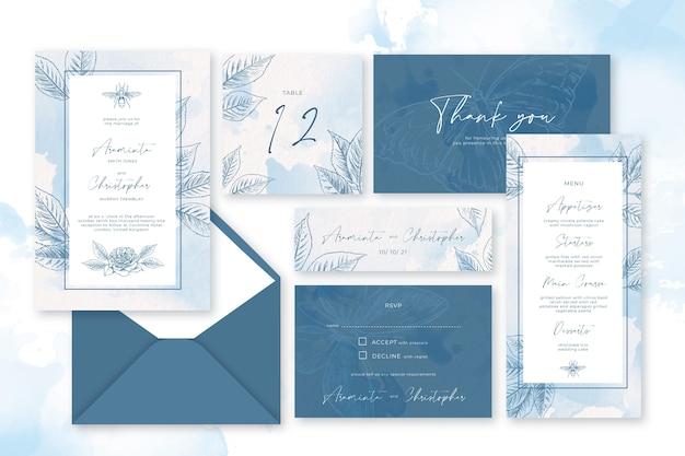 Artigos de papelaria pastel do pó do casamento Vetor grátis