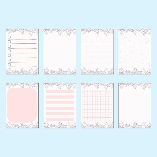 Artigos de papelaria romântica primavera pêssego conjunto de modelo de papel Vetor Premium