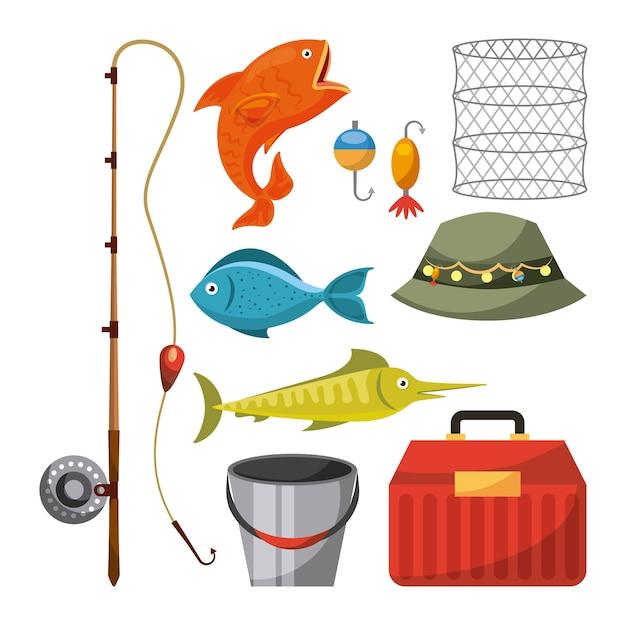 Artigos de pesca necessários Vetor Premium