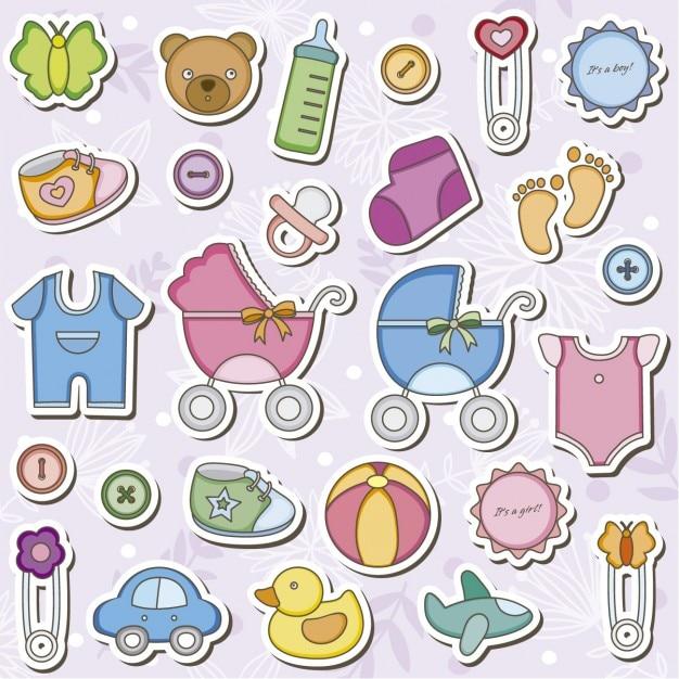Artigos do bebê Vetor grátis