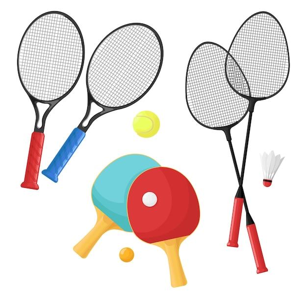 Artigos esportivos para tênis, badminton e pingue-pongue. raquetes e bolas, peteca. Vetor Premium