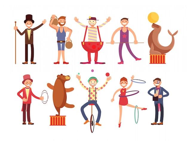 Artistas de circo cartoon personagens vector set. acrobat e homem forte, mágico, palhaço, animal treinado Vetor Premium