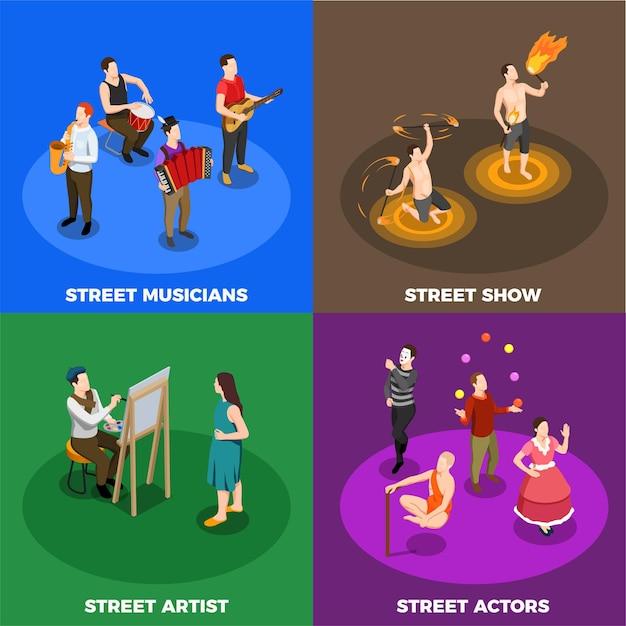 Artistas de rua músicos atores e artistas de fogo mostram conceito isométrico isolado Vetor grátis