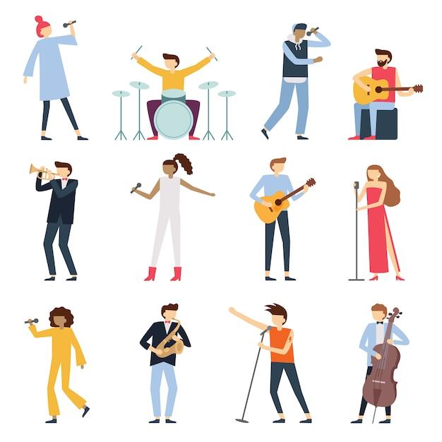 Artistas músicos. artista de guitarra, jovem baterista e cantor de música pop. instrumentos musicais palco jogadores isolado plano conjunto Vetor Premium