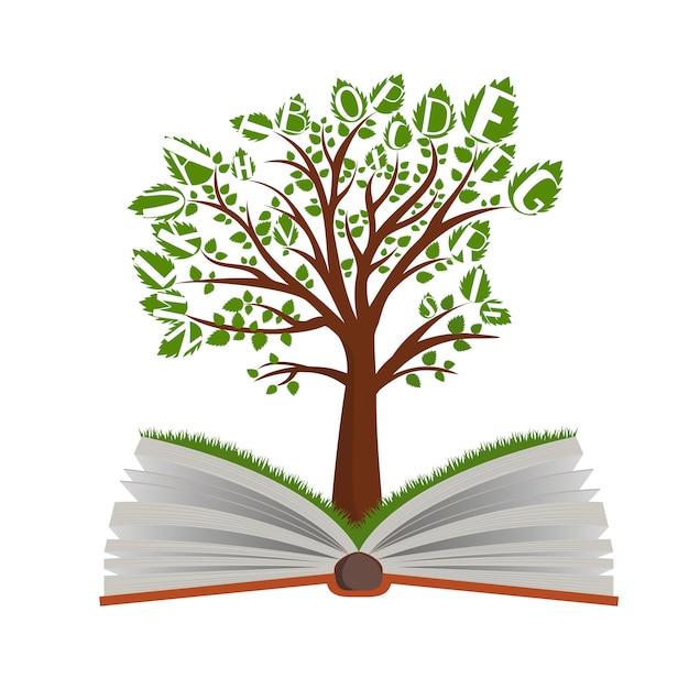 Árvore de conhecimento do livro aberto no fundo branco Vetor Premium