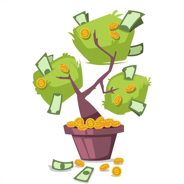 Árvore de dinheiro com dólares e moedas de ouro Vetor Premium