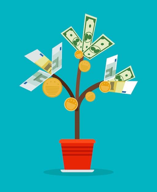 Árvore de dinheiro com notas de dinheiro Vetor Premium