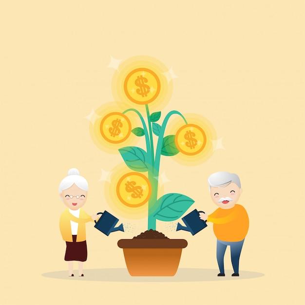 Árvore de dinheiro crescente. Vetor Premium