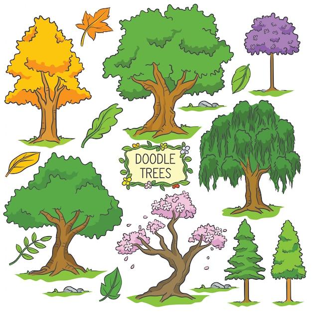 Árvore de doodle colorido mão desenhada Vetor Premium