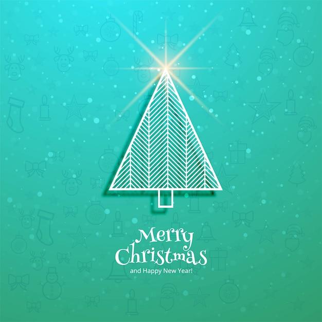 Árvore de feliz natal e feliz ano novo cartão festival Vetor grátis
