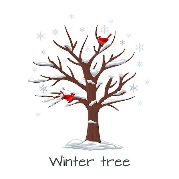 Árvore de inverno com pássaros. natureza da estação, neve na madeira, floco de neve e planta, ilustração vetorial Vetor grátis