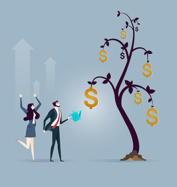 Árvore de moeda de dólar criativo empresário Vetor Premium