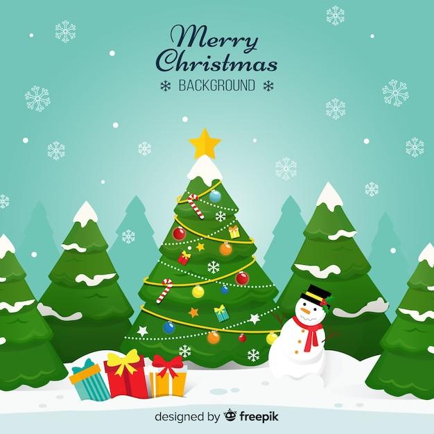 Árvore de natal boneco de neve ilustration fundo Vetor grátis