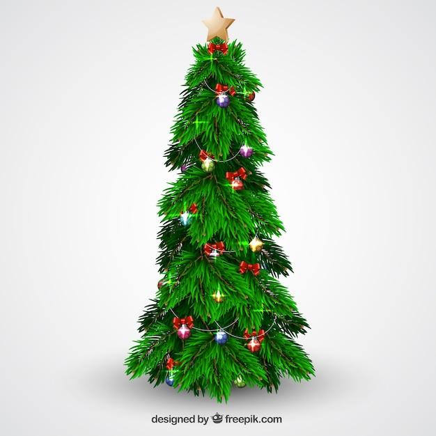Árvore de natal com bolas e luzes Vetor grátis
