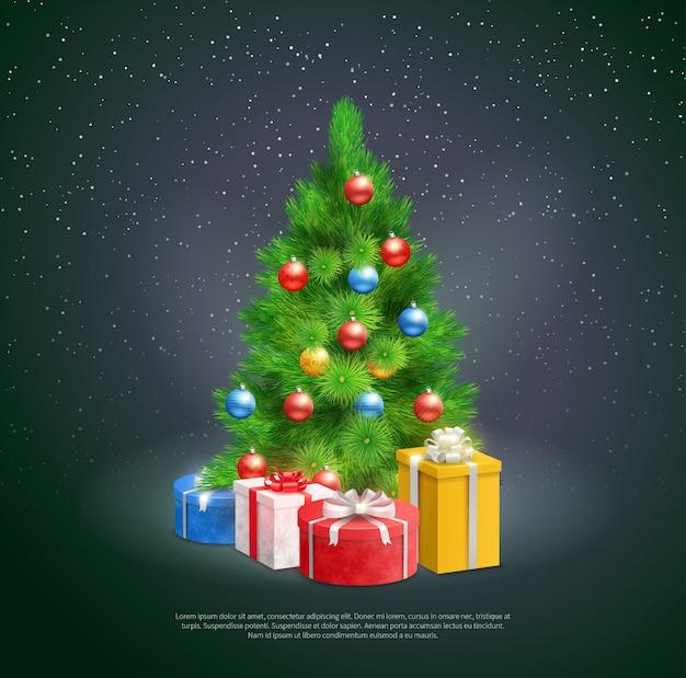Árvore de natal com caixas de presente Vetor grátis