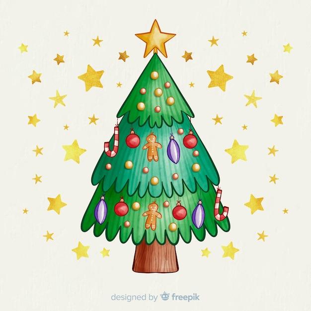 Árvore de natal com globos e estrelas douradas Vetor grátis