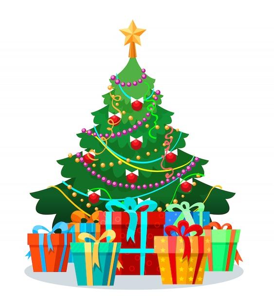 Árvore de natal com lâmpadas e presentes Vetor Premium