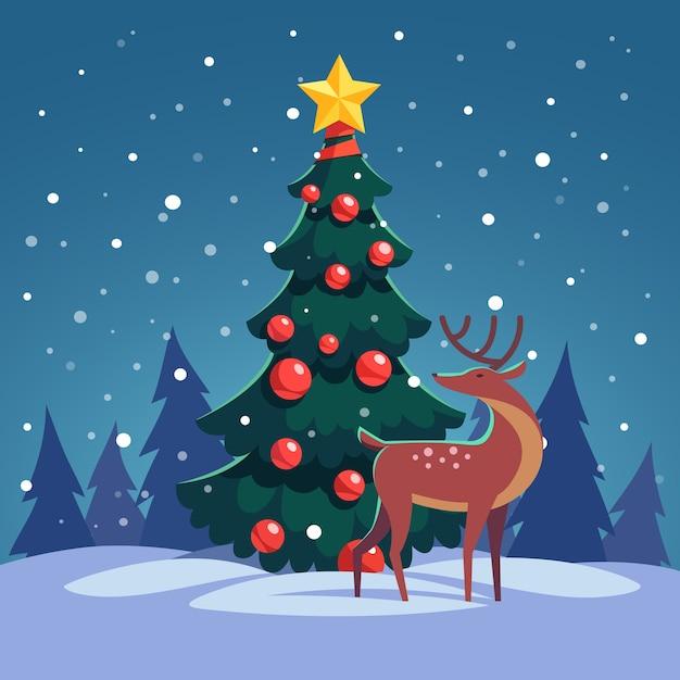 Árvore de Natal com rena selvagem na floresta Vetor grátis