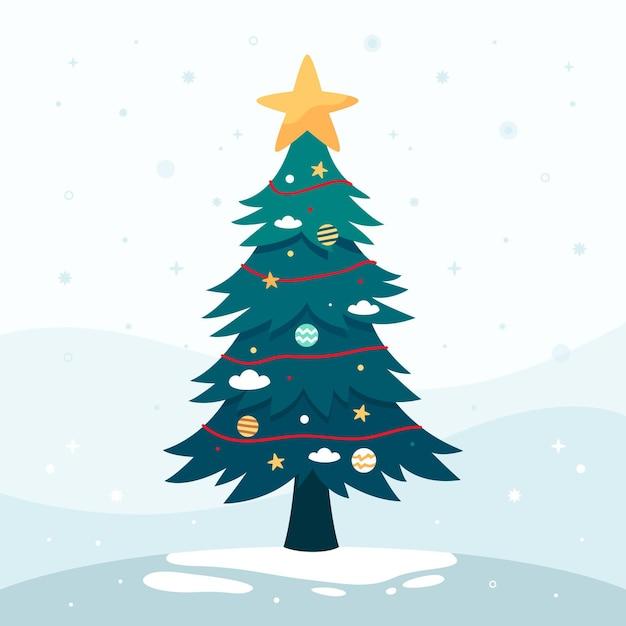 Árvore de natal de design plano Vetor grátis