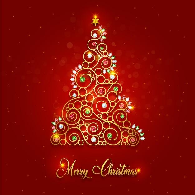Árvore de natal de ouro de luxo feliz natal Vetor Premium