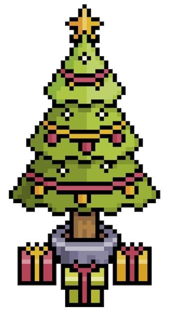 Árvore de natal de pixel art. item de jogo de bits Vetor Premium