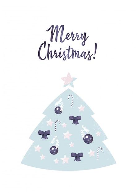 Árvore de natal decorada com bolas, arcos e estrelas Vetor Premium