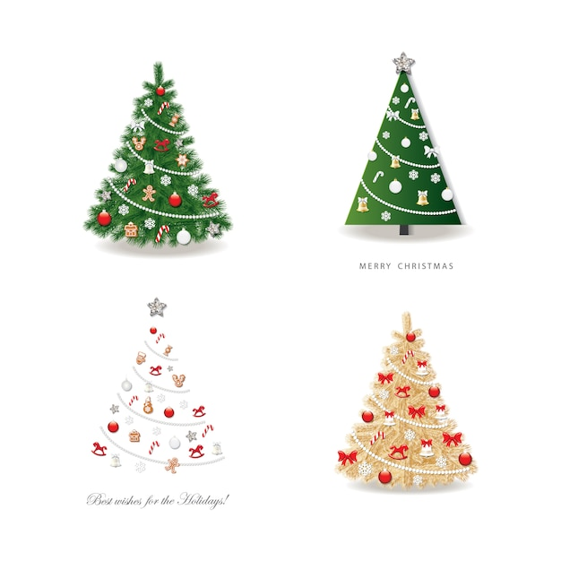 Árvore de natal decorada conjunto. Vetor Premium