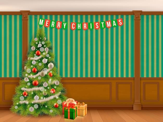 Árvore de natal decorada em quarto clássico com painéis de madeira e pilastras. sala de estar interna ou biblioteca em estilo clássico. Vetor Premium