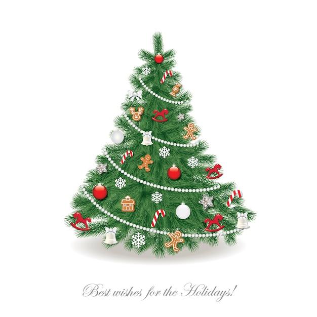 Árvore de natal decorada Vetor Premium
