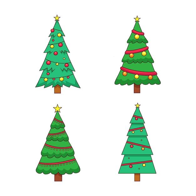 Árvore de natal desenhada com enfeites Vetor grátis