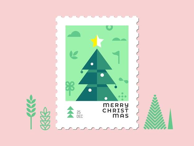 Árvore de natal - design plano de carimbo de natal para cartões e multiuso Vetor Premium