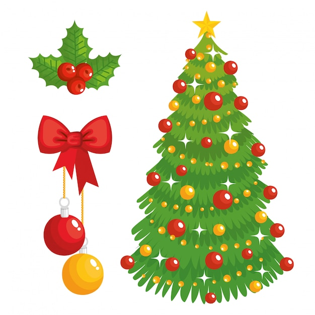 Árvore de natal e ícones decorativos Vetor Premium
