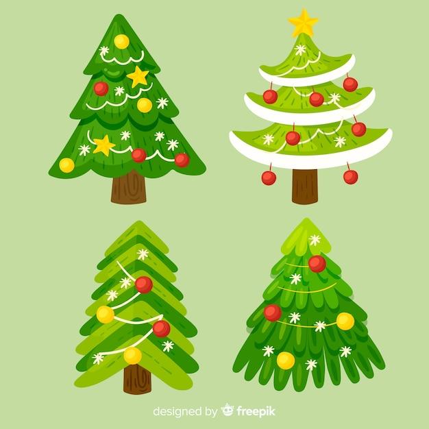 Árvore de natal em design plano Vetor grátis