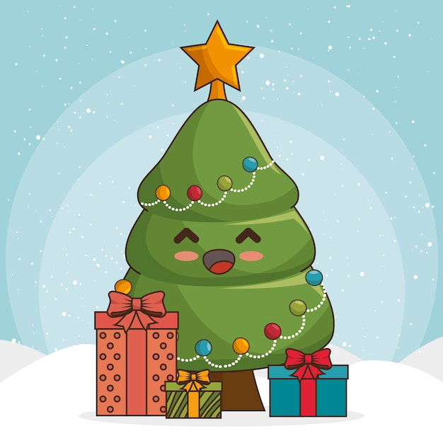 Árvore de natal em estilo kawaii com caixas de presente ou presentes Vetor grátis
