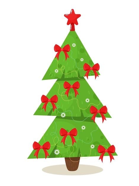 Árvore de natal estilizada com laços vermelhos. ilustração em estilo simples dos desenhos animados. Vetor Premium
