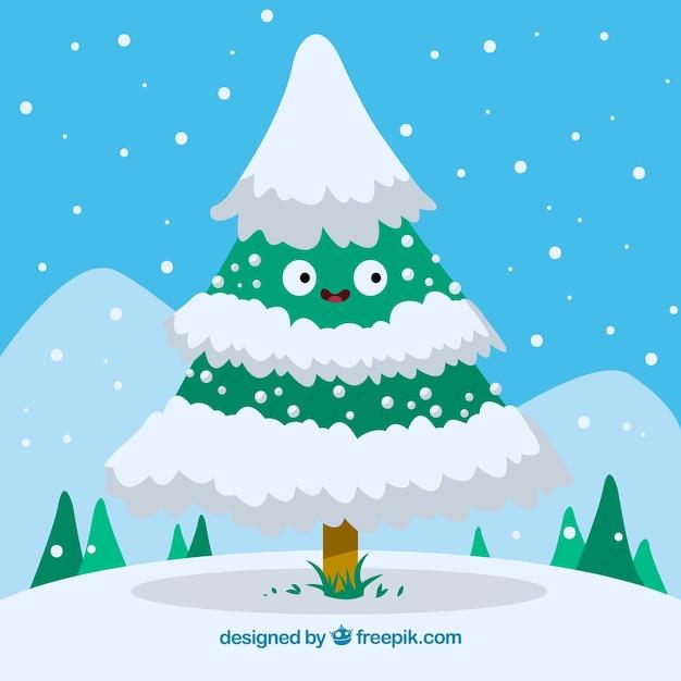 Árvore De Natal Estilo Desenho Com Neve