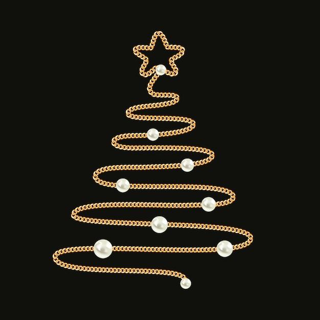 Árvore de natal feita com corrente de ouro e pérolas. Vetor Premium