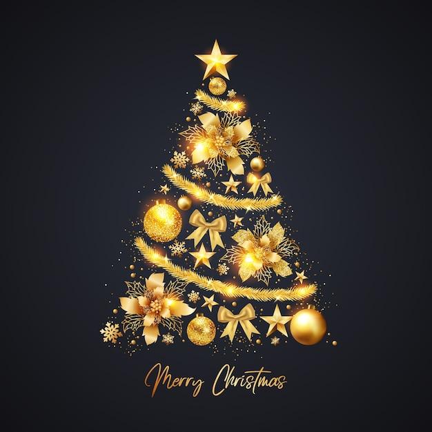 Árvore de natal feita de decoração dourada realista Vetor grátis