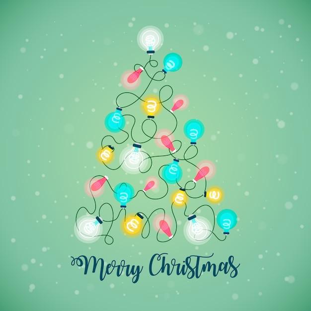 Árvore de natal feita de ilustração de lâmpadas Vetor grátis