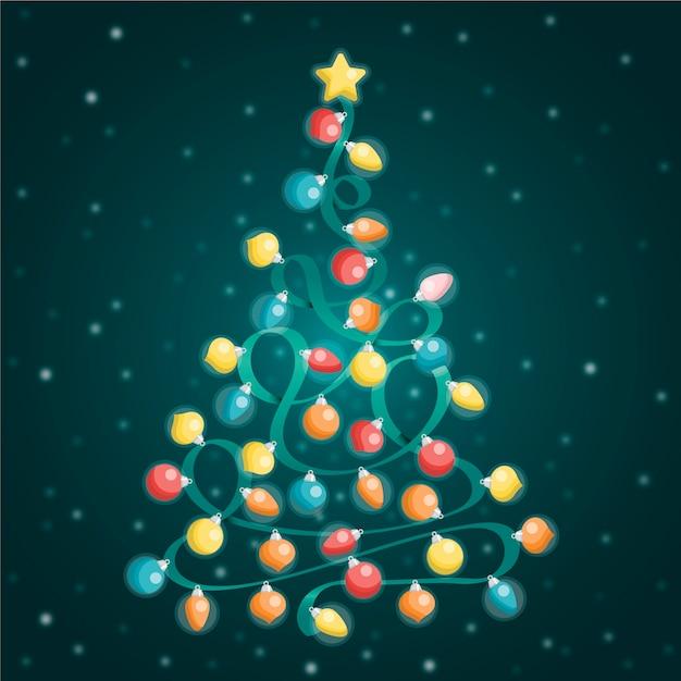 Árvore de natal feita de lâmpadas Vetor grátis