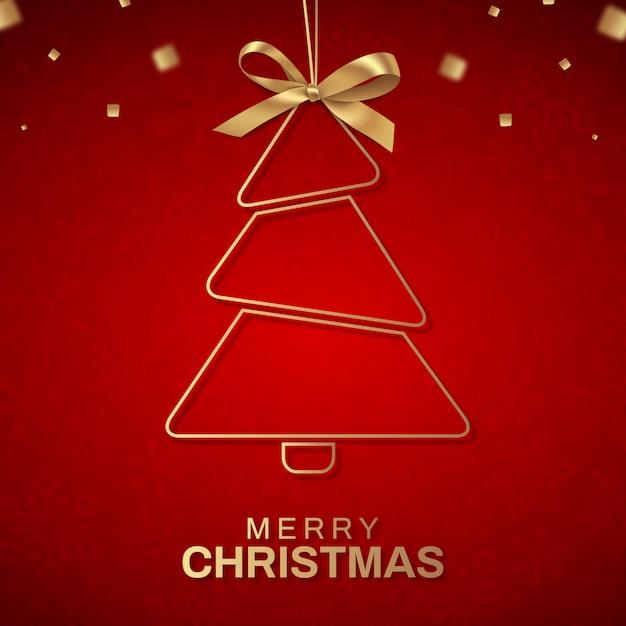 Árvore de natal feliz em vermelho Vetor Premium