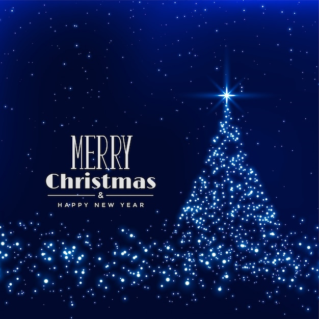 Árvore de natal feliz feita com brilhos de fundo Vetor grátis