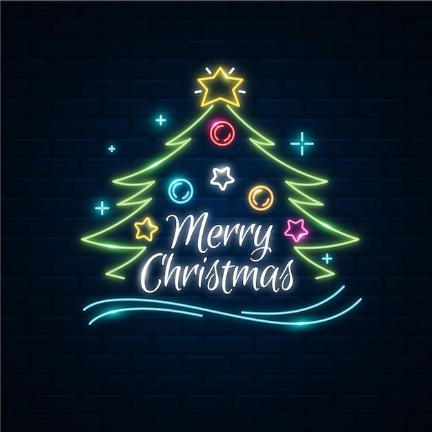 Árvore de natal feliz neon Vetor Premium