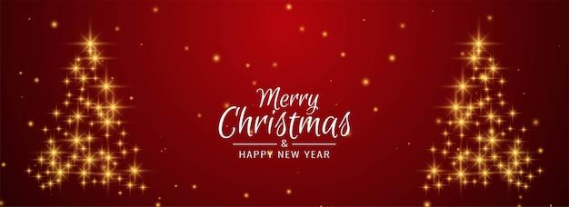 Árvore de natal glitters banner decorativo de feliz natal Vetor grátis